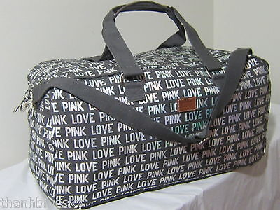 ❤Large ❤ NEW VICTORIA SECRET PINK Bling Iridescent CARRY ON WEEKENDER DUFFLE BAG