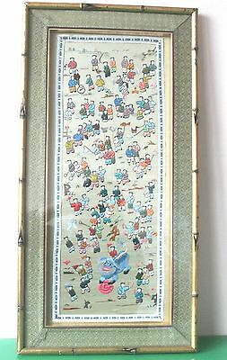 Antique Japanese Silk Embroidery Wall Hanging. Framed 63cm c.1950