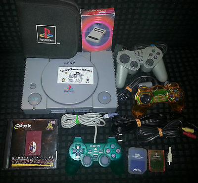 Lotto Sony Playstation  Stock Ps1 Psx Psone Console 3 Pad Memory Card Action