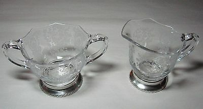 Vintage Lace Pattern Etched Glass Creamer & Sugar on Sterling Silver Bases #1102