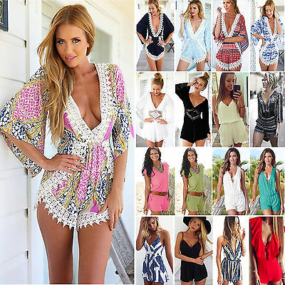 Womens Plunge V Neck Holiday Mini Playsuit Summer Jumpsuit Romper Casual Shorts