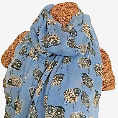Ladies Pale Blue Scarf With Sketched Sheep Design Superb Soft Quality New
