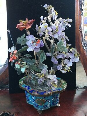 """8""""H CHINESE Coral  / Amethyst / JADE & CLOISONNE POT FLOWER / TREE"""