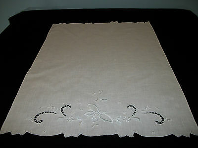 VTG  ANTIQUE ITALIAN WHITE LINEN GUEST TOWEL w/OPENWORK; NEEDLE LACE; EMBROIDERY