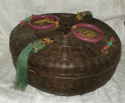 "Antique Vtg 12"" CHINESE SEWING WICKER BASKET Glass Rings Beads Tassels & Coins"