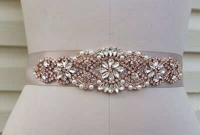 "Wedding Dress Sash Belt -  Rose Gold Crystal Pearl Sash Belt = 7 1/4"" long"