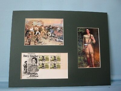 Davy Crockett defends the Alamo & the First day Cover of his own stamp