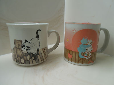 Set of Two Gibson Greetings Cat Coffee Cups Mugs