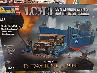 Revell 1/35 scale model kit LCM 3 Landing craft with Jeep and Trailer.