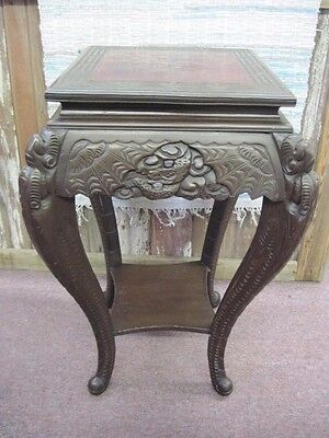 """Antique Chinese Asian Oriental Carved Hardwood Dark Patina Lamp Table Stand 30"""""""