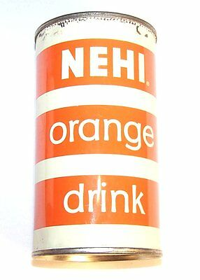 Vintage Nehi Orange Soda Pop Flat Top Can Pull Beer Pre Zip Tab Coke Sign MkOfr