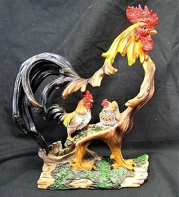 Rooster & Hen Framed by a hand painted wood looking Rooster Farm decor figurine