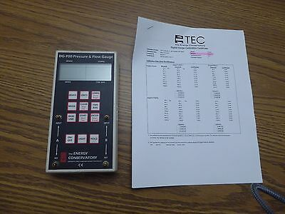 DG-700 The Energy Conservatory Digital Pressure and Flow Gauge Meter Calibrated!
