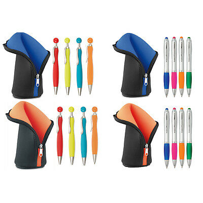 High Density Foam Pencil Case,zip opening, with 4 Ball Pens Great Gift