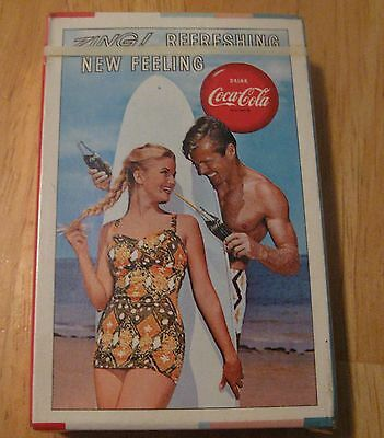 Vintage 1963 Coca Cola SEALED Playing Cards Girl in Swimsuit Guy w/ Surfboard