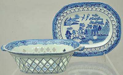 Antique Rogers Staffordshire Pearlware Reticulated Basket and Under Tray 1825