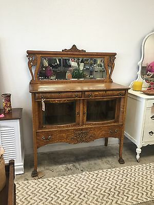 Antique Oak Wood Tiger Sideboard/Buffet/Server