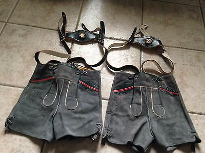 2 Pairs Of Vintage Suede Lederhosen- Suspenders With Carved Antler Medallions