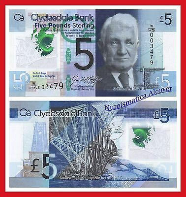 ESCOCIA  CLYDESDALE  BANK SCOTLAND  5 pounds 2016  POLYMER  Pick 229 O SC / UNC