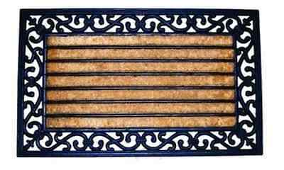 Coir Door Mat, Ribbed, Decorative Rubber Border Door Mat
