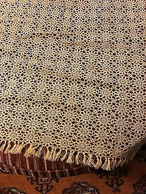"Antique Crochet Tablecloth And Runner Hand Made 67""x77"""