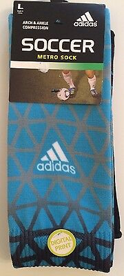 Adidas Soccer Metro Socks Unisex 1 PR Arch & Ankle Support Size L Blue