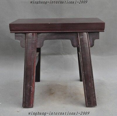 "10"" Old Chinese Rosewood Wood pure Hand-Carved Wooden bench Chair Seat Stools"