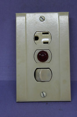 Antique Ivory Wall Plate Cover w/ Switch, Outlet / Receptacle & ON Red Light