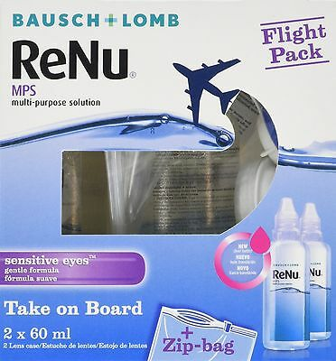 Pack of 2 Multi-Purpose Flight Pack Bausch Lomb ReNu MPS Contact Lens Solution