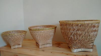 Handmade Woven Bamboo Baskets 1 Set of 3 from Indonesia