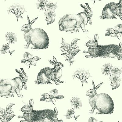 """York Wallcoverings Book Bunny Toile 33' x 20.5"""" Wallpaper Roll"""