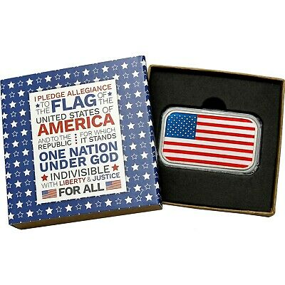 Enameled American Flag 1oz .999 Fine Silver Bar (Pledge box)