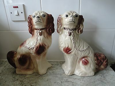 Lovely Pair Of Brown & White Staffordshire Pottery Style Dog Ornaments