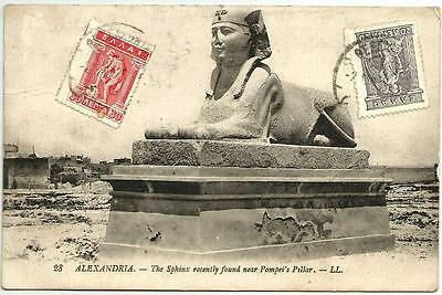 CPA ALEXANDRIA (Alexandrie). THE SPHINX RECENTLY FOUND. 3 Timbres de GRECE