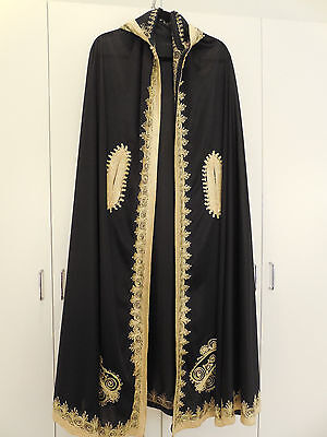 Vintage 1970s Moroccan African Middle East Arab Cape Abaya Coat Long Hoodie hood