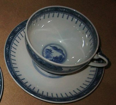 antiqu Chinese Porcelain Gray Blue White Canton Cup Saucer Willow Export ballast