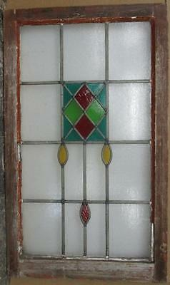 "LARGE OLD ENGLISH LEADED STAINED GLASS WINDOW Colorful abstract  20.25"" x 34"""