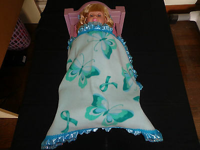 doll bedding for 18 inch american girl blanket pillow set blue rose paisley lace