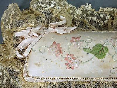 Antique Victorian  Pin Cushion Tambour Lace Embroidery Flowers Large