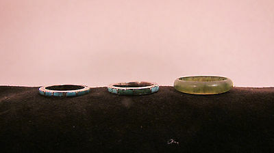 Stone Rings One Jade and Two Sterling with Turquoise Inlay