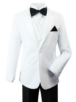 Boys Kids Children Toddler White Tuxedo Jacket 5PC Dress Suit Black Pants s 2-20