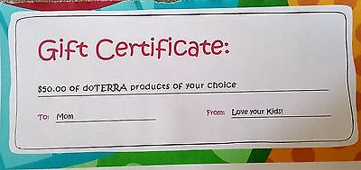 $50.00 doTERRA Gift Certificate Great for Mothers Day! Essential Oils