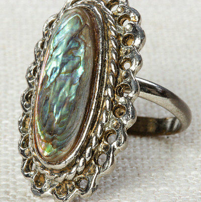 Mother of Pearl Oval Vintage Ring Silver Framed Adjustable Size 5.5 Pearlized7I