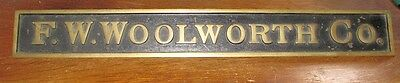 Antique F.W. WOOLWORTH COMPANY Brass COUNTER SIGN Plaque SCRANTON PA