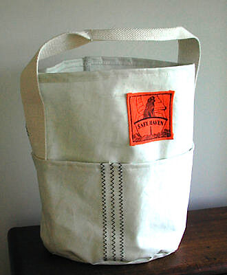 SALE NU Maine Made RECYCLED SAILCLOTH TOTE PAIL Support Newfoundland Dog Rescue