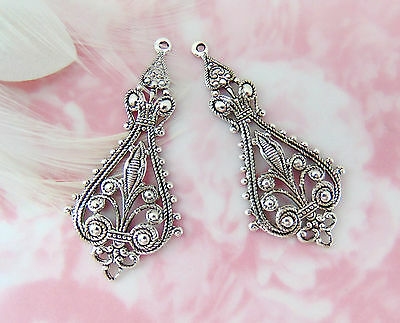 Closeout ANTIQUE SILVER (2 Pieces) Boho Earring Drops Filigree Stamping (E-783)