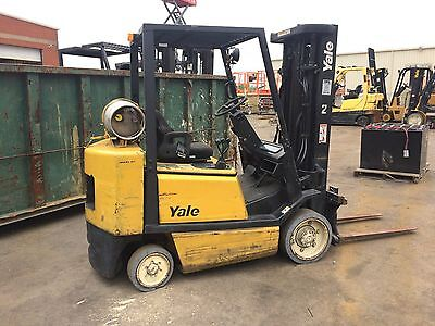 Yale 5000 lb propane(lpg) forklift with cushion tires(solid) 3 stage w/sideshift