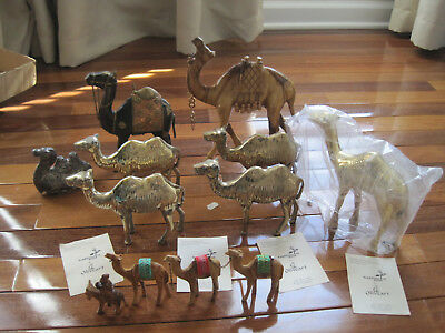 Camels Figures Silk Road Set Of 12 Made Of Brass, Wood, Metal Rare Detailed Nice
