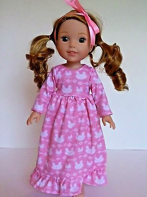 """Pink Rabbit Nightgown Pajamas Fits Wellie Wishers 14.5"""" American Girl Clothes"""