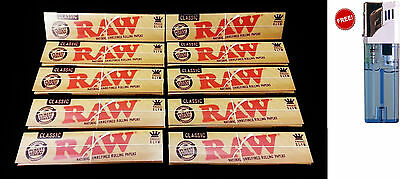 10 Packs Raw Classic King Size Slim Natural Unrefined Rolling Papers Free Ship